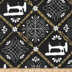 Kaufman Sewing With Singer Metallic Trellis Black Fabric