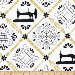 Kaufman Sewing With Singer Metallic Trellis Ivory Fabric