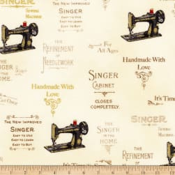 Kaufman Sewing With Singer Metallic Logo Antique Fabric