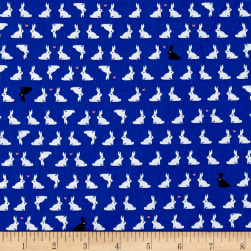 Kaufman Tiny Happy Lucky Bunnies Royal Fabric