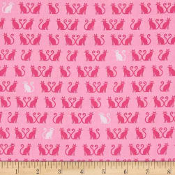 Kaufman Tiny Happy Lucky Cats Pink Fabric