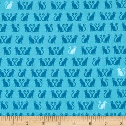 Kaufman Tiny Happy Lucky Cats Aqua Fabric