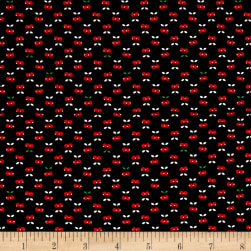 Kaufman Tiny Happy Lucky Cherries Black Fabric