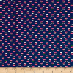 Kaufman Tiny Happy Lucky Cherries Navy Fabric