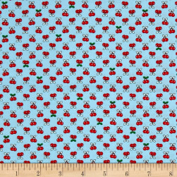 Kaufman Tiny Happy Lucky Cherries Aqua Fabric