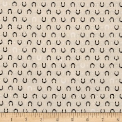 Kaufman Tiny Happy Lucky Horseshoes Ivory Fabric