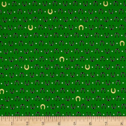 Kaufman Tiny Happy Lucky Horseshoes Metallic Green Fabric