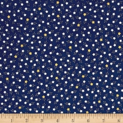 Kaufman Tiny Happy Lucky Stars Metallic Navy Fabric