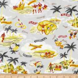 Kaufman Sevenberry Island Paradise Islands Grey Fabric