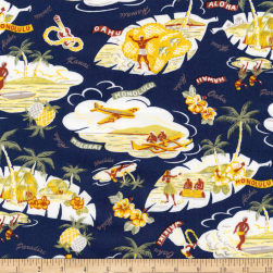 Kaufman Sevenberry Island Paradise Islands Navy Fabric