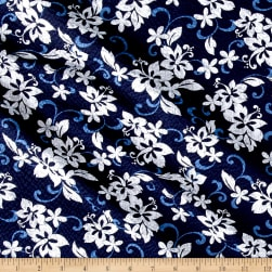 Kaufman Sevenberry Plisse Collection Tropical Flowers Navy Fabric