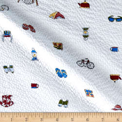 Kaufman Sevenberry Plisse Collection Beach Collage White Fabric