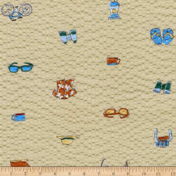 Kaufman Sevenberry Plisse Collection Beach Collage Tan Fabric