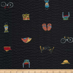 Kaufman Sevenberry Plisse Collection Beach Collage Black Fabric