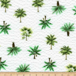 Kaufman Sevenberry Plisse Collection Palm Trees White Fabric