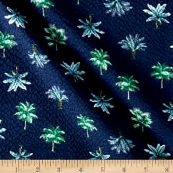 Kaufman Sevenberry Plisse Collection Palm Trees Navy