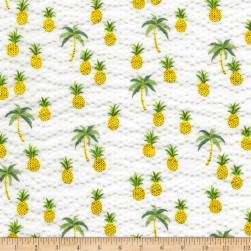 Kaufman Sevenberry Plisse Collection Pineapples White