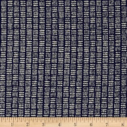 Kaufman Sevenberry Nara Homespun Hash Grid Indigo Fabric