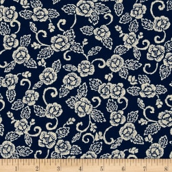 Kaufman Sevenberry Nara Homespun Large Flower Indigo Fabric