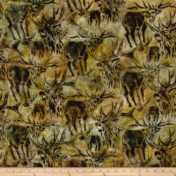 Kaufman Batiks Wildlife Sanctuary Moose Moss