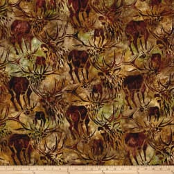 Kaufman Batiks Wildlife Sanctuary Moose Nature