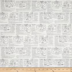 Fine Print Floor Plans Black/White Fabric