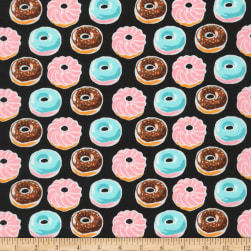 Kaufman Sevenberry Mini Prints Donuts Black Fabric
