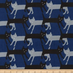 Kaufman Sevenberry Mini Prints Cats Royal Fabric