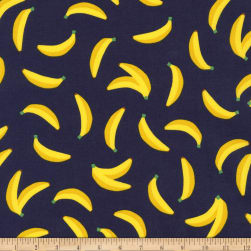 Kaufman Sevenberry Mini Prints Bananas Navy