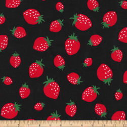 Kaufman Sevenberry Mini Prints Strawberrys Black