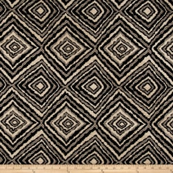 Marquee Abstract Chenille Jacquard Black Fabric