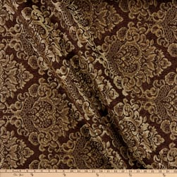 Damask Chenille Jacquard Dark Brown Fabric