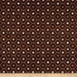Fresh Quatrefoil Chenille Jacquard Dark Brown Fabric