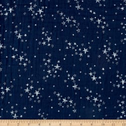 Shannon Embrace Double Gauze Starry Night Cobalt/Silver Fabric