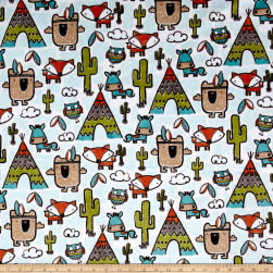 Shannon Minky Cuddle Pow Wow Teal Fabric