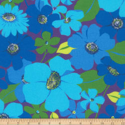 Kaufman Digitally Printed Rayon Challis Flowers Azure Fabric