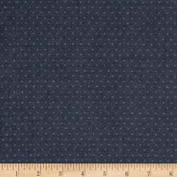 Kaufman Quotes Chambray Yarn Dyed Hash Dot Navy