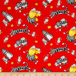 Bedtime Rhymes Cats & Mice Red Fabric
