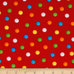 Bedtime Rhymes Multi Dots Red Fabric