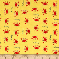 Big Splash Tossed Crabs Yellow Fabric