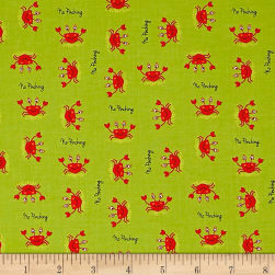 Big Splash Tossed Crabs Green Fabric