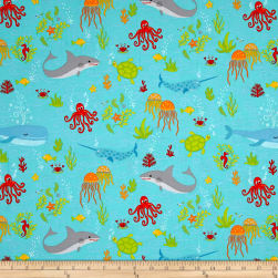 Big Splash Sea-Life Allover Blue Fabric