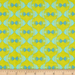 Big Splash Geometric Fish Green Fabric