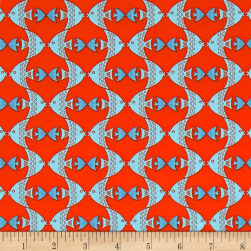 Big Splash Geometric Fish Red Fabric