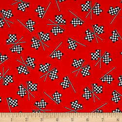 Fast Track Checkered Racing Flags Red Fabric