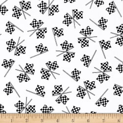 Fast Track Checkered Racing Flags White/Black Fabric