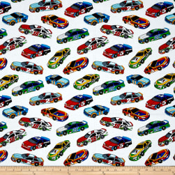 Fast Track Race Cars White/Multi Fabric