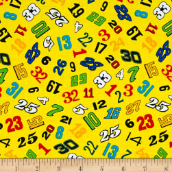 Fast Track Tossed Numbers Yellow Fabric