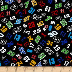 Fast Track Tossed Numbers Black Fabric