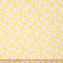 Hop To It Bunny Feet Yellow Fabric